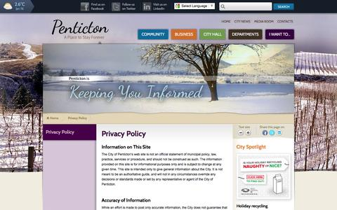 Screenshot of Privacy Page penticton.ca - Privacy Policy   City of Penticton - captured Jan. 16, 2016