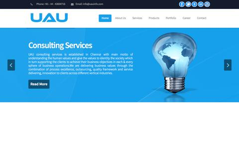 Screenshot of Home Page uauinfo.com - Web Design   IT Recruitment and Staffing in India - UAU - Permanent & Contract Staffing   IT/ITES/ITIS/Non IT, Chennai / Bangalore/ Hyderabad/ Mumbai / Noida/ Pune - captured Oct. 4, 2014