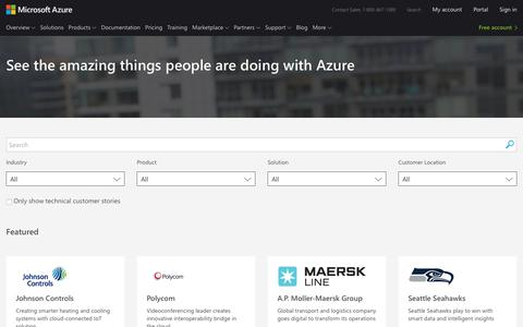 Screenshot of Case Studies Page microsoft.com - Customer and Partner Success Stories for Microsoft Azure - captured Oct. 31, 2018
