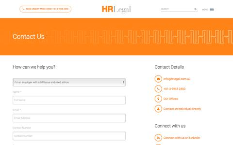 Screenshot of Contact Page hrlegal.com.au - Contact Us | HR Legal - captured July 15, 2018