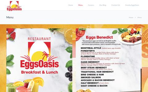 Screenshot of Menu Page eggsoasis.com - Menu | EggsOasis Restaurant - Breakfast and Lunch - captured Nov. 10, 2018