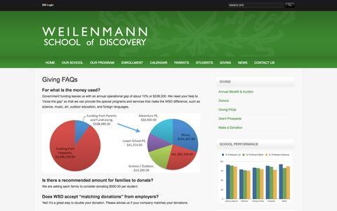 Screenshot of FAQ Page wsdpc.org - Giving FAQs   Weilenmann School of Discovery - captured Oct. 26, 2014