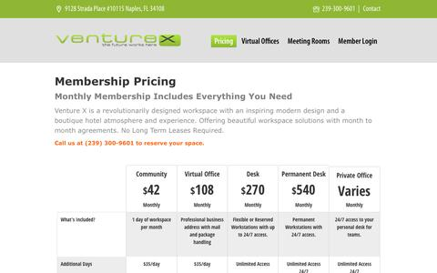 Screenshot of Pricing Page venturex.co - Office Space Pricing - Venture X - captured Aug. 12, 2016