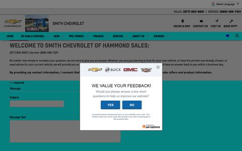 Screenshot of Contact Page smithchevyusa.com - Smith Chevrolet in Hammond | Contact Us - captured July 3, 2018