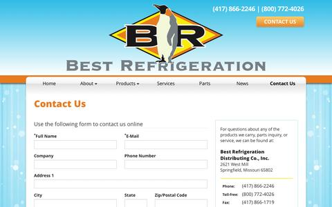 Screenshot of Contact Page best-refrigeration.com - Contact Best Refrigeration - captured Feb. 7, 2016
