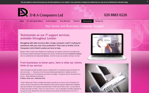 Screenshot of Testimonials Page dacomputers.co.uk - Testimonials On Our Data recovery services in North London - captured Sept. 29, 2018