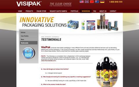 Screenshot of Testimonials Page visipak.com - Testimonials   VisiPak - captured Jan. 8, 2016