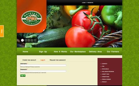 Screenshot of Login Page byproduce.com - User account | Backyard Produce - captured Oct. 1, 2014