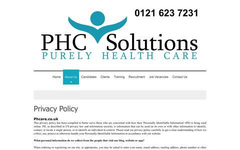 Screenshot of Privacy Page phcare.co.uk - Healthcare Recruitment Consultants Birmingham UK | PHC Solutions - Privacy Policy - captured Sept. 30, 2018