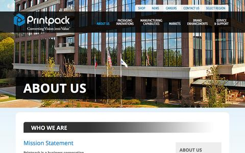 Screenshot of About Page printpack.com - About Us | Printpack - captured Dec. 12, 2015