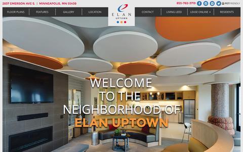 Screenshot of Home Page elanuptown.com - Elan Uptown | Apartments in Minneapolis, MN - captured Jan. 27, 2016