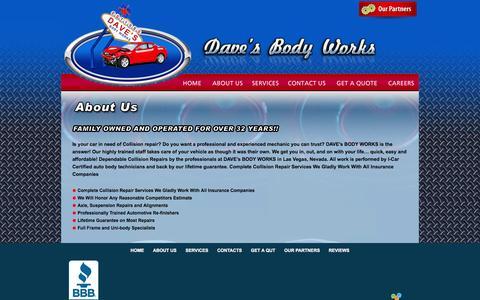 Screenshot of About Page davesbodyworks.com - :: Dave's Body Works :: - captured Sept. 30, 2014