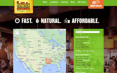 Screenshot of Locations Page izzos.com - Store Locator | Izzos.com - captured Oct. 6, 2014