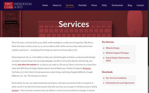 Screenshot of Services Page firstclasswebdesign.co.uk - Website Services for your business - First Class Web Design - captured Aug. 3, 2016