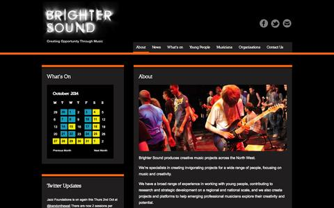 Screenshot of About Page brightersound.com - About - Brighter SoundBrighter Sound - captured Oct. 1, 2014