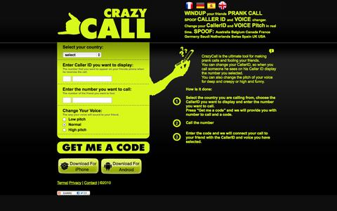 Screenshot of Home Page crazycall.net - CrazyCall - Caller ID Spoofing and Voice changer - captured Sept. 23, 2014