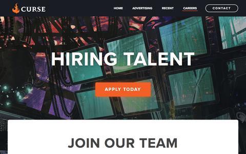 Screenshot of Jobs Page curse.com - Curse - Careers - captured Nov. 20, 2017