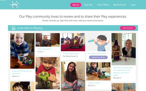 Screenshot of Testimonials Page pley.com - Pley reviews |  Pley | Rent the coolest toys including LEGO®, American Girl and other amazing toys - captured Feb. 14, 2016