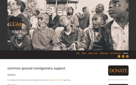 Screenshot of Support Page cgmlife.org - Support — Common Ground Montgomery - captured Oct. 2, 2014