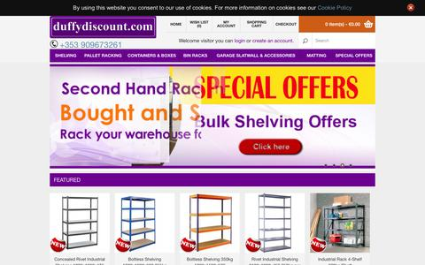 Screenshot of Home Page duffydiscount.com - Duffy Discount - Boltless Shelving, Steel Shelving, Angled Shelving, Pallet Racking - captured June 22, 2015