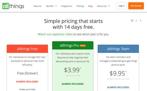 Screenshot of Pricing Page allthings.io - Pricing | allthings – allthings - captured Nov. 11, 2015