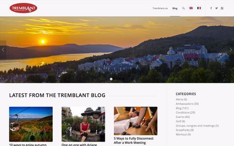 Screenshot of Press Page tremblant.ca - Home - Tremblant Blog - captured Sept. 16, 2015