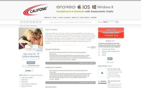 Screenshot of Case Studies Page califone.com - Case Studies | Califone International - captured Sept. 27, 2014