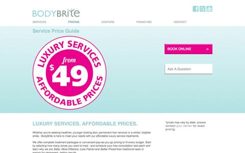Screenshot of Pricing Page bodybriteusa.com - Service Price Guide | BodyBrite USA - captured Oct. 5, 2014
