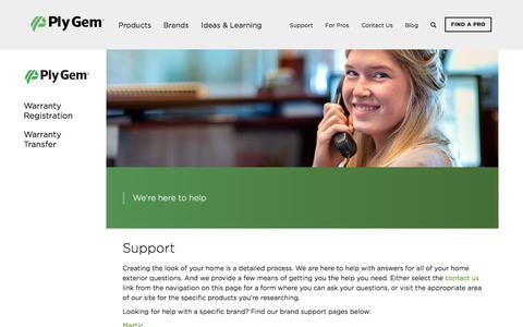 Screenshot of Support Page plygem.com - Support   Ply Gem Corporate - captured Sept. 12, 2017