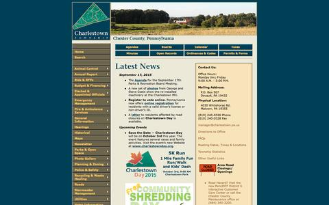 Screenshot of Home Page charlestown.pa.us - Charlestown Township Official Website - captured Sept. 20, 2015
