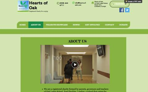 Screenshot of About Page hearts-of-oak.org - online-fundraising | ABOUT US - captured May 16, 2017