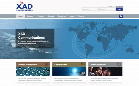 Screenshot of Home Page xadco.com - XAD Communications - captured Oct. 3, 2014