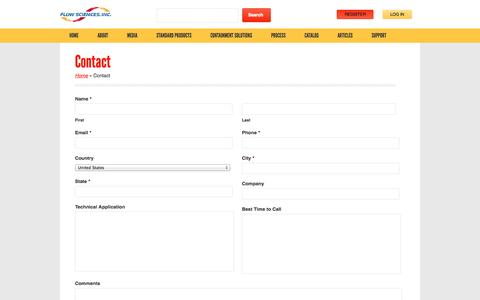 Screenshot of Contact Page flowsciences.com - Contact - Flow Sciences - captured Oct. 6, 2014