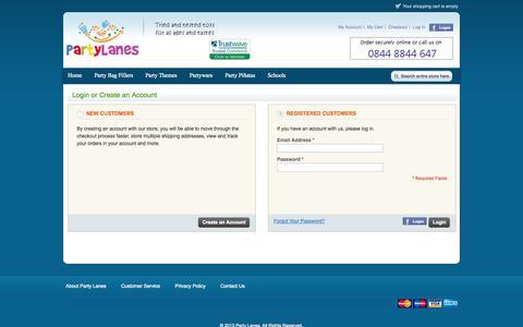 Screenshot of Login Page partylanes.co.uk - Customer Login - captured Oct. 28, 2014