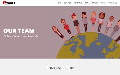 Screenshot of Team Page evoortsolutions.com - Experienced web design and development team – Evoort Solutions - captured July 23, 2018