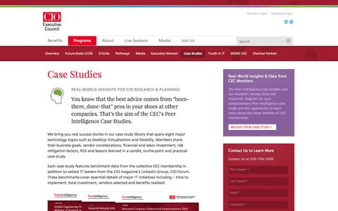 Screenshot of Case Studies Page cio.com - Case Studies - CIO Executive Council - captured Sept. 18, 2014