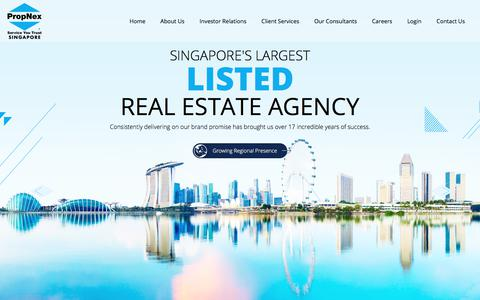 Screenshot of Home Page propnex.com - PropNex - Singapore's Largest Listed Real Estate Agency - captured July 23, 2018