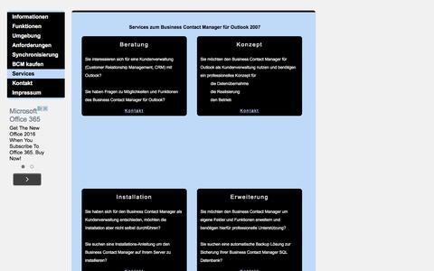 Screenshot of Services Page businesscontactmanager.de - Schulungen zum Business Contact Manager für Outlook - captured June 11, 2016
