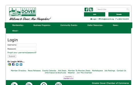 Screenshot of Login Page dovernh.org - Login - Greater Dover Chamber of Commerce, NH - captured Nov. 13, 2016