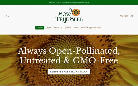 Screenshot of Home Page sowtrueseed.com - Sow True Seed - Open-Pollinated & Heirloom Seed Company, Asheville NC - captured Feb. 20, 2018