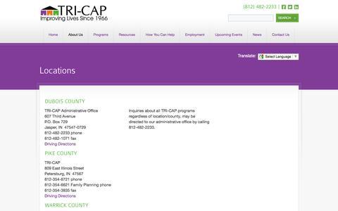 Screenshot of Locations Page tri-cap.net - Locations | TRI-CAP | Community Action - captured Feb. 25, 2016