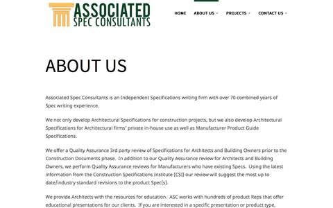 Screenshot of About Page spec-consultants.com - About us | Spec Consultant - captured Sept. 25, 2016