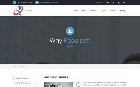 Screenshot of Support Page ropalsoft.com - Support :: Ropalsoft Technologies - captured Oct. 7, 2014
