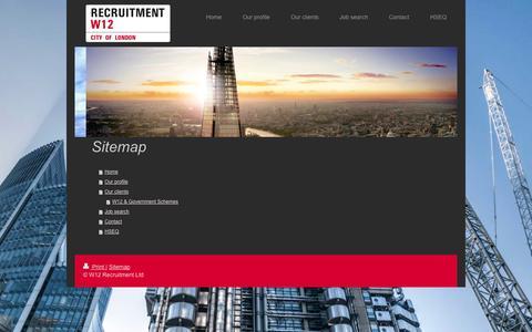 Screenshot of Site Map Page w12-recruitment.co.uk - W12 Recruitment | Labour Supply | Rail | Temp | Construction - captured Oct. 27, 2014