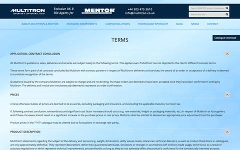 Screenshot of Terms Page multitron.co.uk - terms | Multitron - captured Oct. 3, 2014