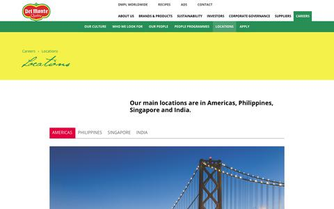 Screenshot of Locations Page delmontepacific.com - Locations - captured Oct. 12, 2017