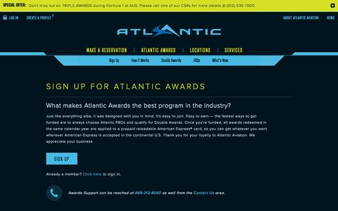 Screenshot of Signup Page FAQ Page atlanticaviation.com - Atlantic Aviation - Atlantic Awards Fuel Awards Program - captured Oct. 22, 2014