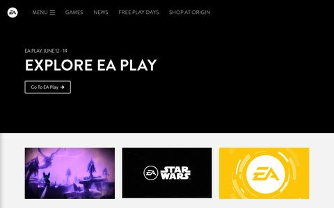 Screenshot of Home Page ea.com - Electronic Arts Official Home Page - captured June 21, 2016