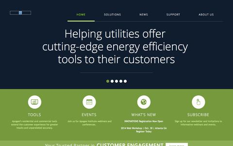 Screenshot of Home Page apogee.net - Apogee Interactive | Online Solutions for the Energy Industry - captured Sept. 22, 2014