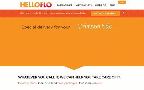 Screenshot of Home Page helloflo.com - HelloFlo. Simple. Period. - captured Sept. 19, 2014